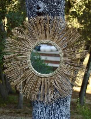 Miroir soleil en paille rigide